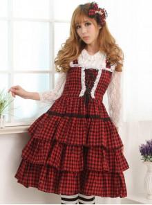 Red And Black Plaid Classic Lolita Sleeveless Dress