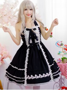 Black Sweet Lolita Hanging Neck Dress