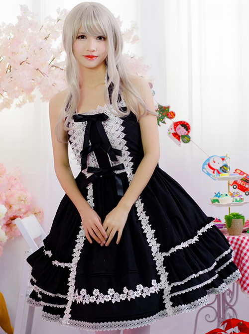 Black Sweet Lolita Hanging Neck Dress