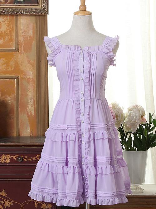Purple Bowknot Flounced Sweet Lolita Sling Dress