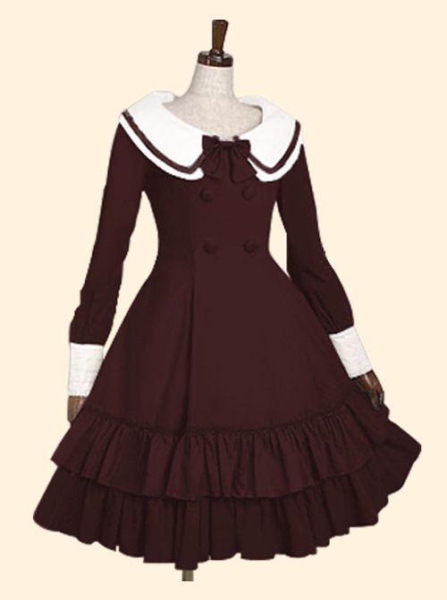 Double Breasted Lapel Long Sleeve Classic Lolita Dress