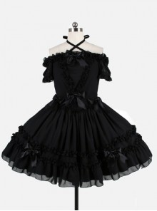Black Chiffon Binding Strap Off-the-shoulder Classic Lolita Dress