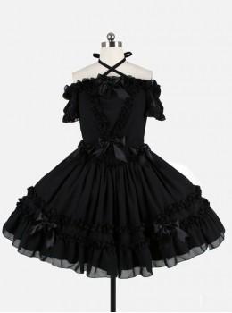 Black Chiffon Binding Strap Off-the-shoulder Classic Lolita Dress