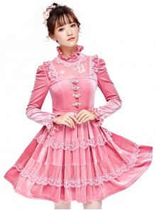 Pink Thickened Flounce Classic Lolita Long Sleeve Dress
