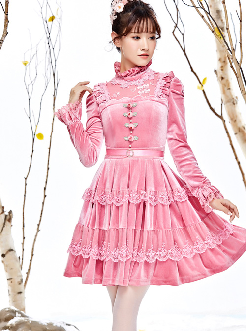 Pink Thickened Flounce Classic Lolita Long Sleeve Dress