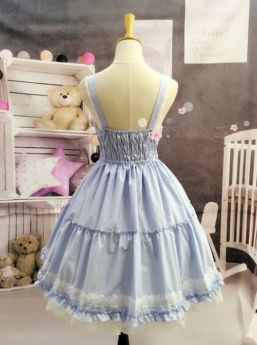 White Lace Cute Pure Color Sweet Lolita Sling Dress