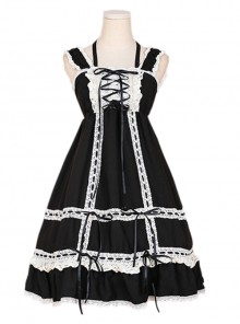 Cute Lace-up Bowknot Lace Sweet Lolita Sling Backless Dress