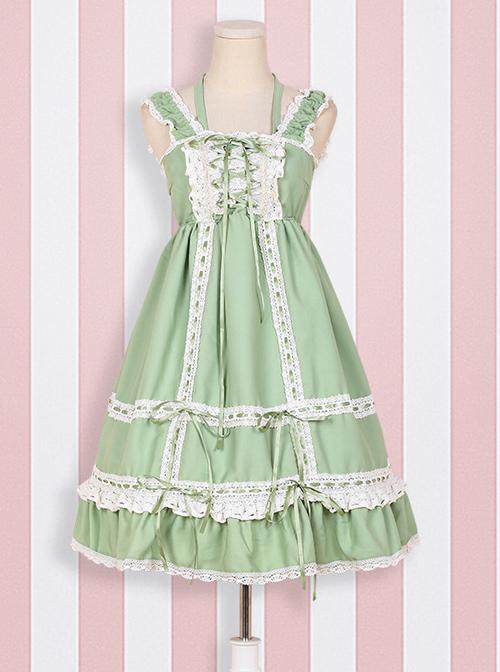Cute Lace-up Bowknot Lace Sweet Lolita Sling Backless Dress