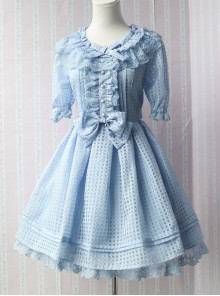 Pure Color Organza Short Puff Sleeve Classic Lolita Dress