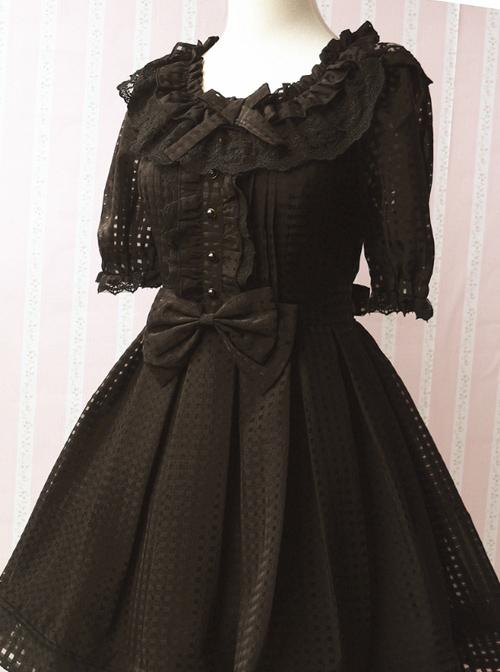 Pure Color Organza Short Puff Sleeve Classic Lolita Dress