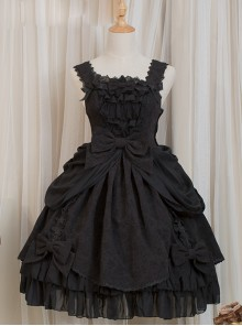 Dressy Dress Series Bowknot High Waist Classic Lolita Sling Dress