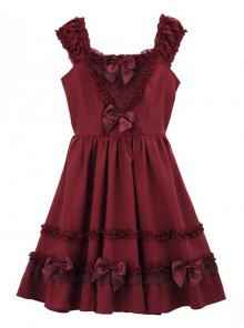 Bowknot Fold Lace Sweet Lolita Sling Dress