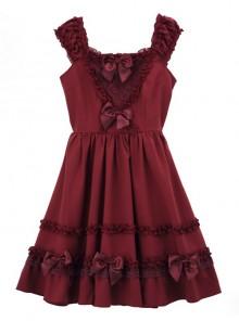Bowknot Fold Lace Sweet Lolita Sling Dress