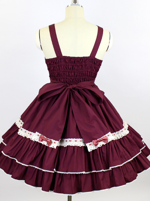 White Lace Pure Color Bowknot Classic Lolita Sling Dress