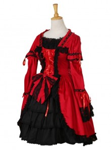 Black Lace Red Classic Lolita Long Trumpet Sleeve Dress