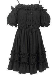 Morolli Maiden Series Pure Black Sweet Lolita Sling Short Sleeve Dress