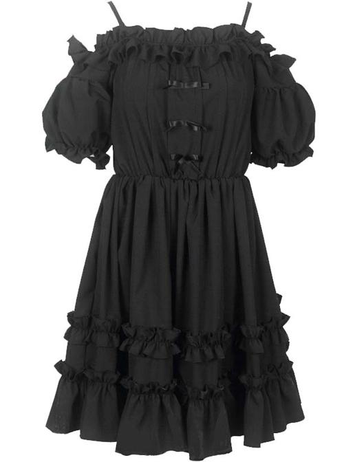 Morolli Maiden Series Pure Black Sweet Lolita Sling Short Sleeve Dress