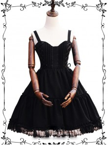 Waltz Series Double Lace-up Bowknot Classic Lolita Sling Dress