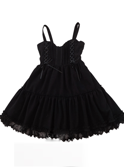 Waltz Series Double Lace-up Bowknot Classic Lolita Sling Dress