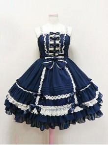 Palace Style Bowknot Lace Classic Lolita Sling Dress