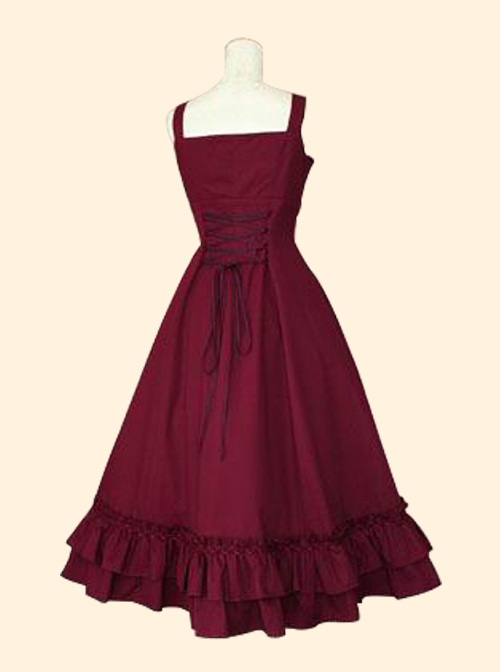 Concise Middle-waisted Classic Lolita Sling Long Dress