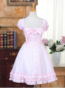 Cute Pink Sweet Lolita Short Puff Sleeve Dress