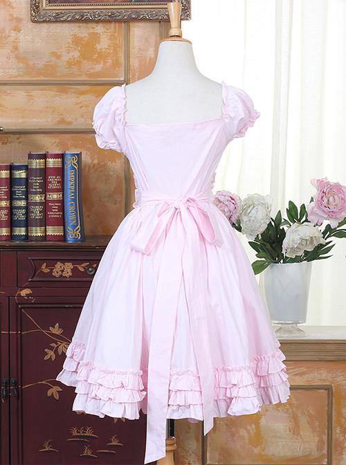 Cute Pink Sweet Lolita Short Puff Sleeve Dress