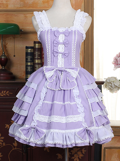 Lace Purple Bowknot Sweet Lolita Sling Dress