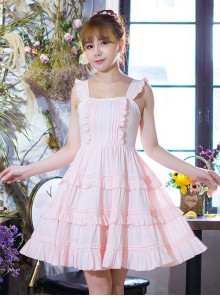 Pink Cute Flounced Sweet Lolita Sleeveless Dress