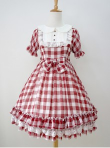 Plaid Chiffon Doll Collar Sweet Lolita Short Sleeve Dress