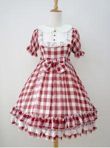 Plaid Chiffon Doll Collar Sweet Lolita Short Sleeve Dress