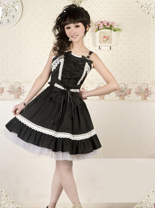 Black and White Lace Bowknot Gothic Lolita Sling Dress