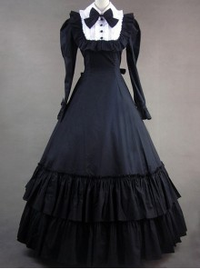Retro Bowknot Gothic Lolita Prom Long Sleeve Dress