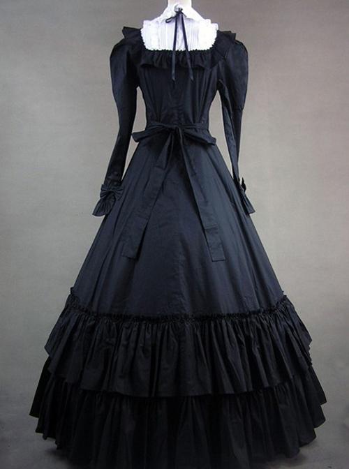 Retro Bowknot Gothic Lolita Prom Long Sleeve Dress