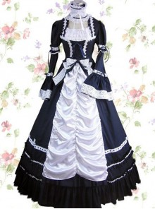Dark Blue Cotton Gothic Lolita Prom Short Sleeve Long Dress