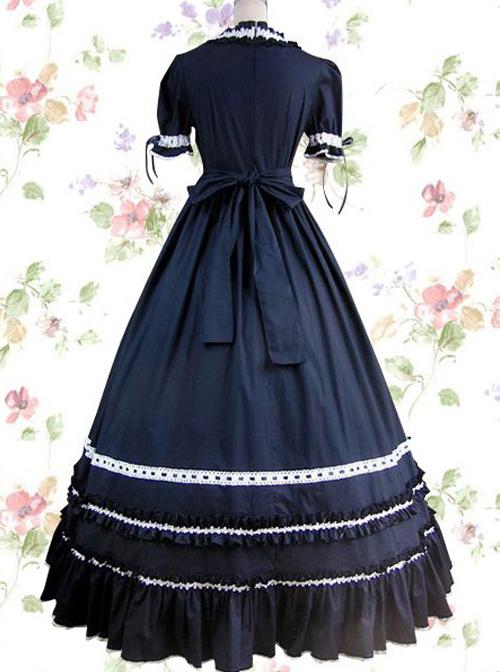 Dark Blue Cotton Gothic Lolita Prom Short Sleeve Long Dress