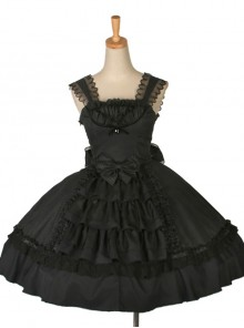 Dream Alice Cute Rabbit Black Gothic Lolita Sling Dress