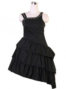 Black Asymmetric Hem Punk Gothic Lolita Sling Dress