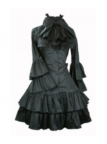 Black Punk Style Gothic Lolita Trumpet Sleeve Dress