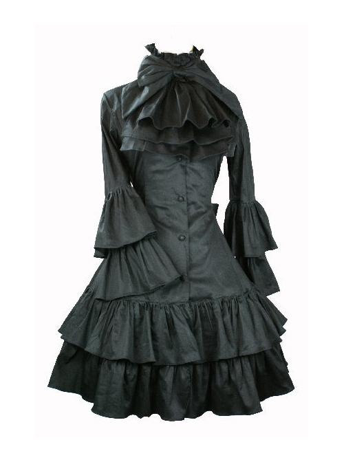 Black Punk Style Gothic Lolita Trumpet Sleeve Dress
