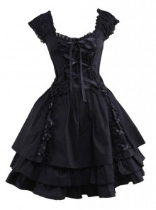 Pure Cotton Black And Lace Gothic Lolita Sleeveless Dress