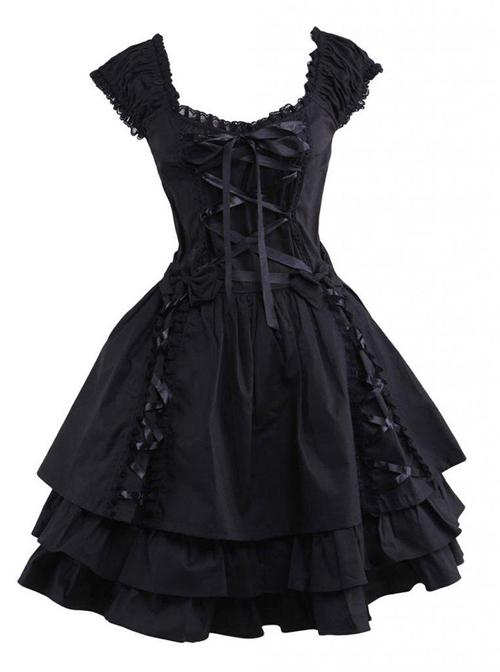 Pure Cotton Black And Lace Gothic Lolita Sleeveless Dress