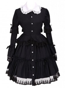 Black Lapel Ruffle Gothic Lolita Long Sleeve Dress