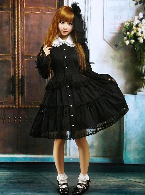 Black Lapel Ruffle Gothic Lolita Long Sleeve Dress