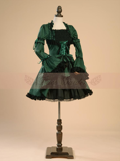 Retro Lace And Bind Strap Gothic Lolita Long Sleeve Dress