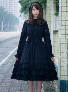 Morning's Aurora Series Pure Cotton Classic Lolita Long Sleeve Dress
