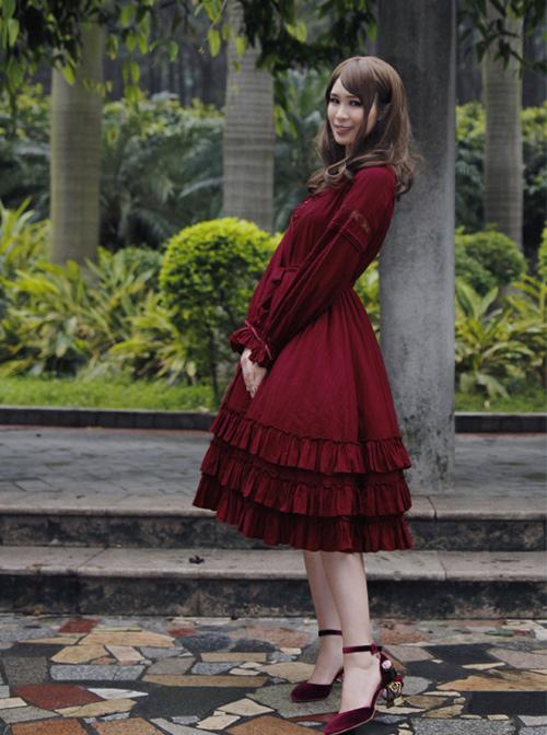 Morning's Aurora Series Pure Cotton Classic Lolita Long Sleeve Dress
