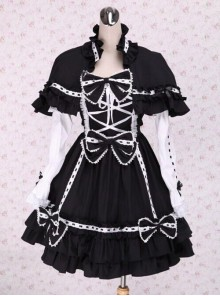 Black Bowknot Sweet Lolita Long Sleeve Dress