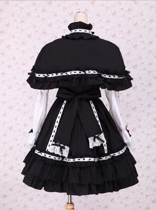 Black Bowknot Sweet Lolita Long Sleeve Dress