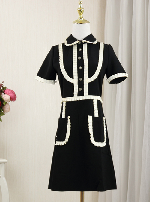 Elegant Slim Black Short Sleeve Dress